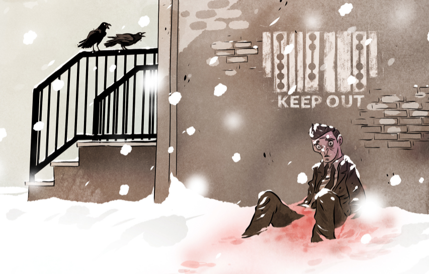 """A bleeding man slumped in the snow against a brick building with stenciled text in Clickwise and English reading """"KEEP OUT"""""""