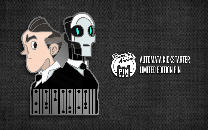 """A pin depicts Detective Regal and Carl Swangee wearing suits. The bottom of the pin features Clickwise text which reads """"REGAL SWANGEE"""". Next to the pin is the Pinny Arcade logo and the text """"Automata Kickstarter limited edition pin"""""""