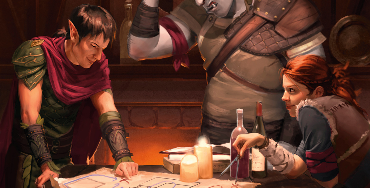 A trio of adventurers in a tavern consulting a map by candlelight